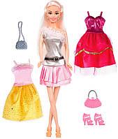 Кукла Ася, Яркий в моде, брюнетка с 3 нарядами и аксессуарами, Ася