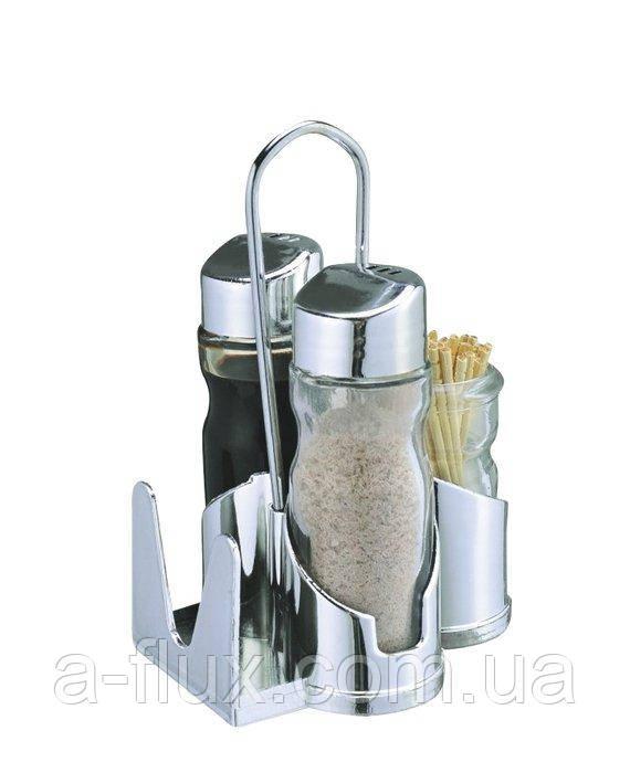 Набор для специй: соль, перец, салфетник, емкость для зубочисток на нерж. подставке EMPIRE 0108Е