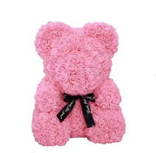 Гарний ведмедик з латексних 3D троянд 40 см в подарунковій коробці   Рожевий