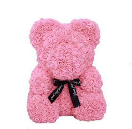 Гарний ведмедик з латексних 3D троянд 40 см в подарунковій коробці   Рожевий, фото 2