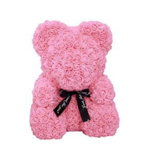 Красивый мишка из латексных 3D роз 25 см в подарочной коробке | Розовый