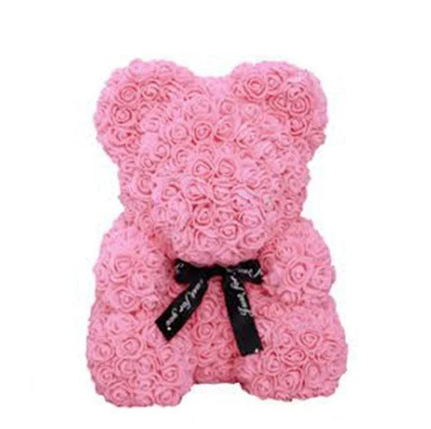 Красивый мишка из латексных 3D роз 25 см в подарочной коробке | Розовый, фото 2