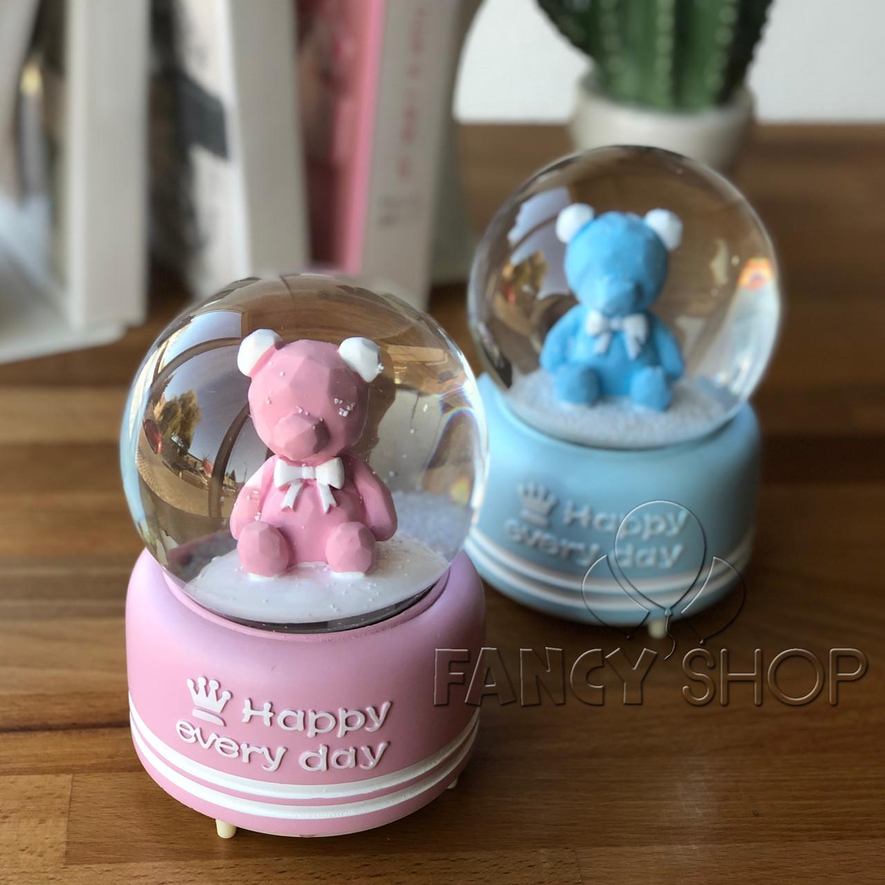 """Куля сніжна """"Ведмедик Happy"""", рожевий, Снежный шар """"Счасливий мишка"""""""