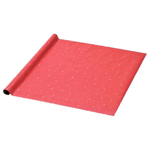 IKEA, VINTER 2019, Пакувальний папір, пунктирна, червона, 3x0,7 м, (304.314.99)