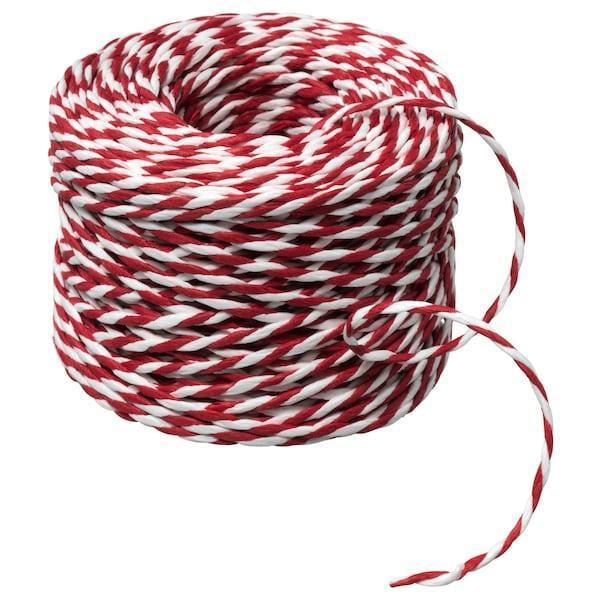 IKEA, ВІНТЕР 2019, Стрічка-нитка, біла / червона, 40 м, (104.344.51)