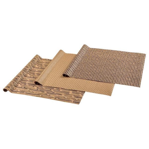 IKEA, GIVANDE, Пакувальний папір, натуральна, чорна, 3,0x0,7 м, (703.481.20)