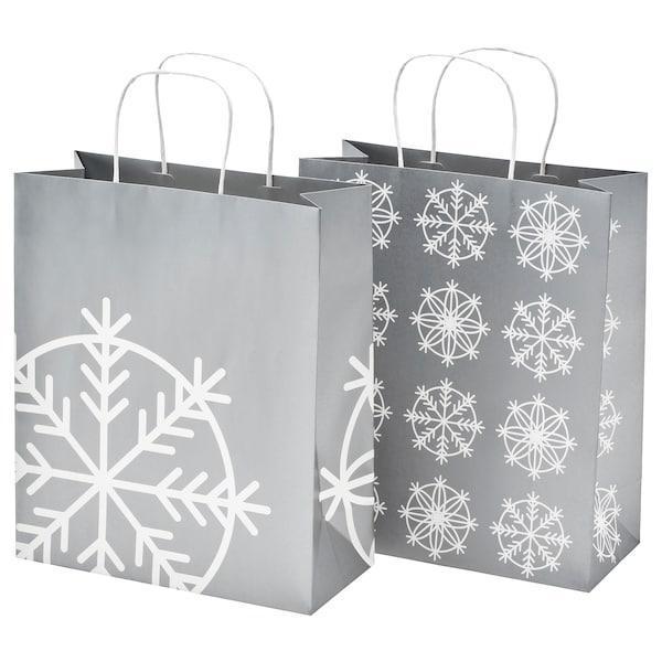 IKEA, VINTER 2019, Подарочная сумка, серебро, 12x32 см / 10 л, (004.347.05)