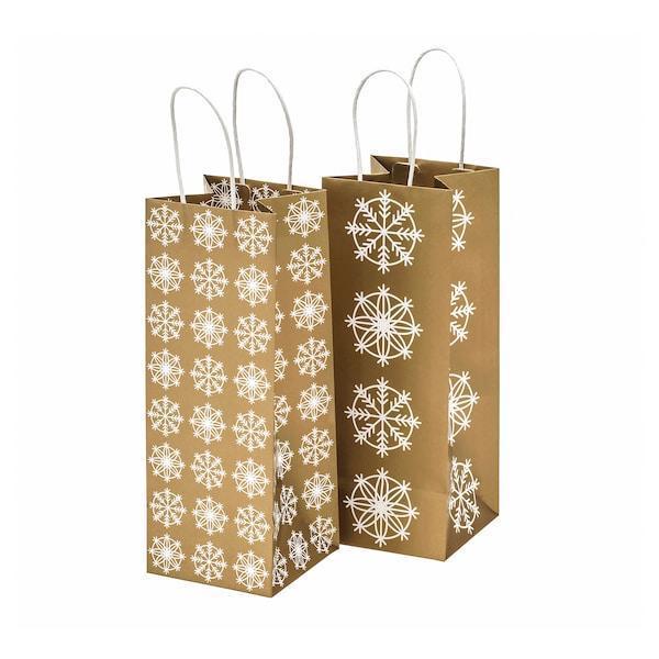 IKEA, VINTER 2019, Подарункова сумка для пляшки, золотистого кольору, 12x32 см / 4,6 л , (904.346.59)