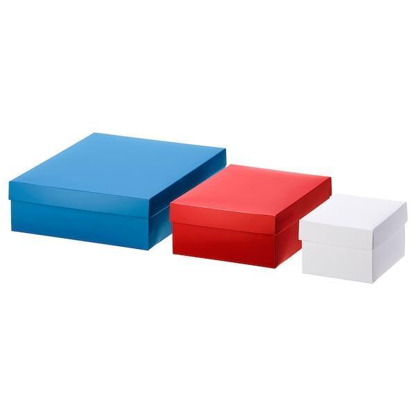 IKEA, ВІНТЕР 2019, Подарункові коробки, 3 шт, білий, червоний, синій (804.345.51)