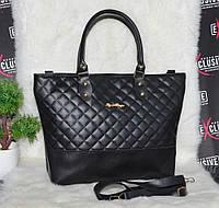 Вместительная стеганная черная женская сумка