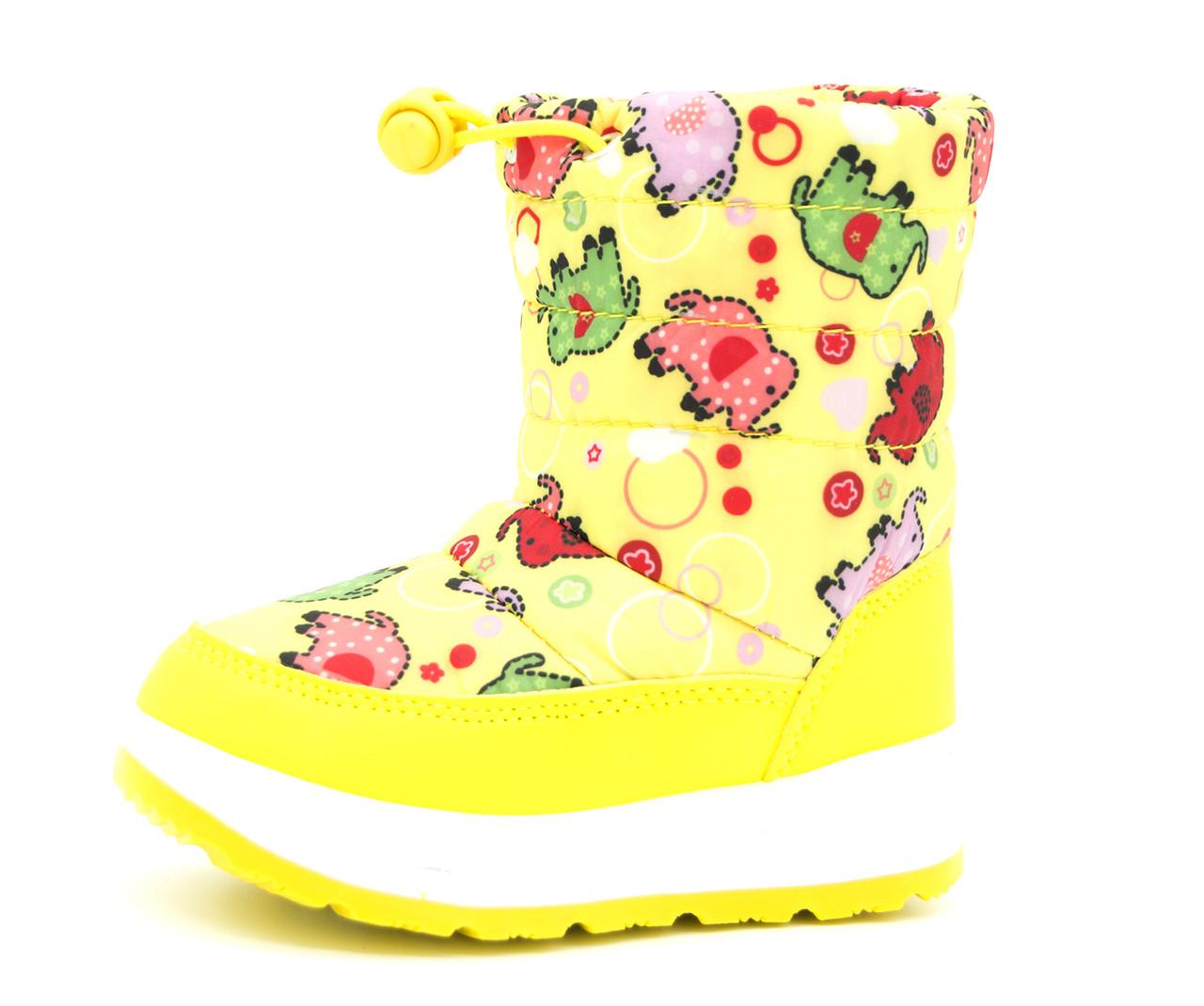 Дутики для девочки Желтые Зима