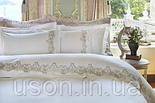 Комплект постельного белья сатин люкс Pepper home евро размер с вышивкой Leanna