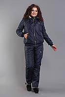 Зимний стильный теплый лыжный женский синтепоновый костюм батал куртка на овчине и с капюшоном. Арт-1205/29