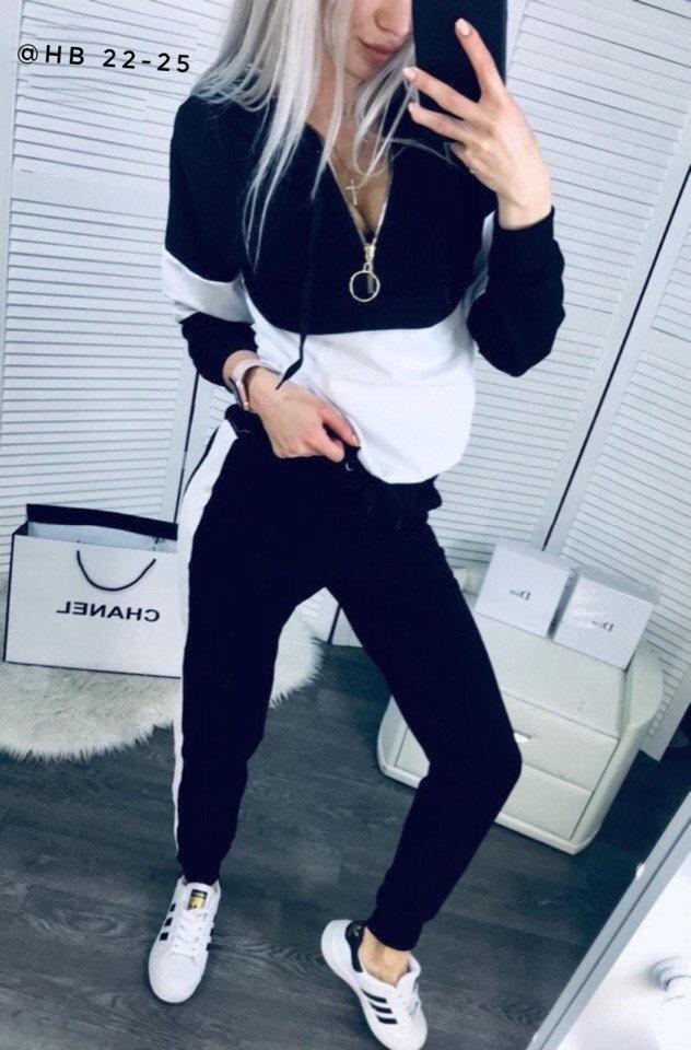IDOL Женский спортивный прогулочный костюм с лампасами кофта на замке L-ка черный