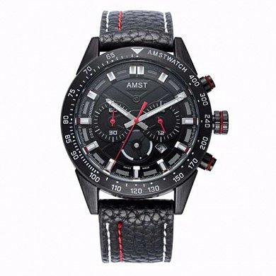 Часы наручные AMST AM3021-1 Black, кожаный ремешок (оригинал)