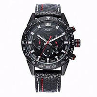 Часы наручные AMST AM3021-1 Black, кожаный ремешок (оригинал), фото 1