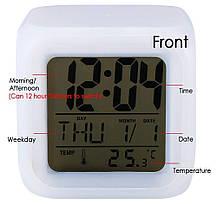 Часы хамелеон с термометром будильник ночник.., фото 2