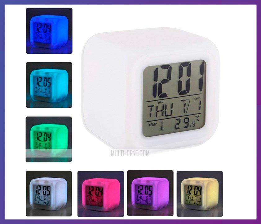 Часы хамелеон с термометром будильник ночник..