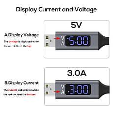 Оригинальный кабель TOPK D-Line2 CS3180 Type-C Quick Charge 3A быстрая зарядка дисплей напряжения и тока Grey, фото 2