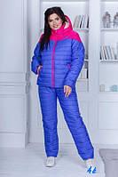 Зимний стеганый женский синтепоновый костюм больших размеров куртка на овчине и с капюшоном. Арт-1206/29
