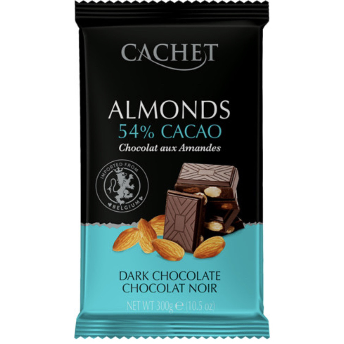 Cachet Чёрный шоколад 54% какао + цельный миндаль