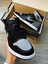 """Кроссовки Nike Air Jordan 1 retro """"Черные / Белые / Серые"""", фото 3"""