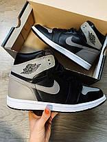 """Кроссовки Nike Air Jordan 1 retro """"Черные / Белые / Серые"""", фото 2"""