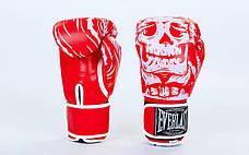 Перчатки боксерские FLEX на липучке EVERLAST SKULL BO-5493  (10 унции, Красный), фото 2