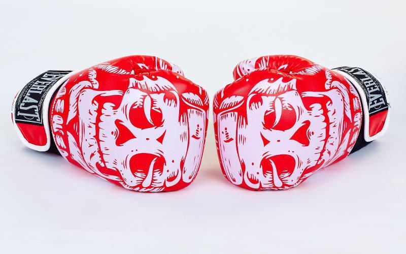 Перчатки боксерские FLEX на липучке EVERLAST SKULL BO-5493  (10 унции, Красный)