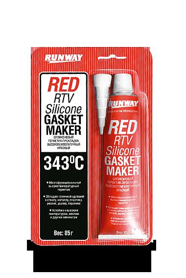 Силиконовый герметик - красный (+343*С) Runway RW8500