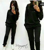 Маргарет Теплый женский спортивный костюм трехнитка на флисе L-ка черный