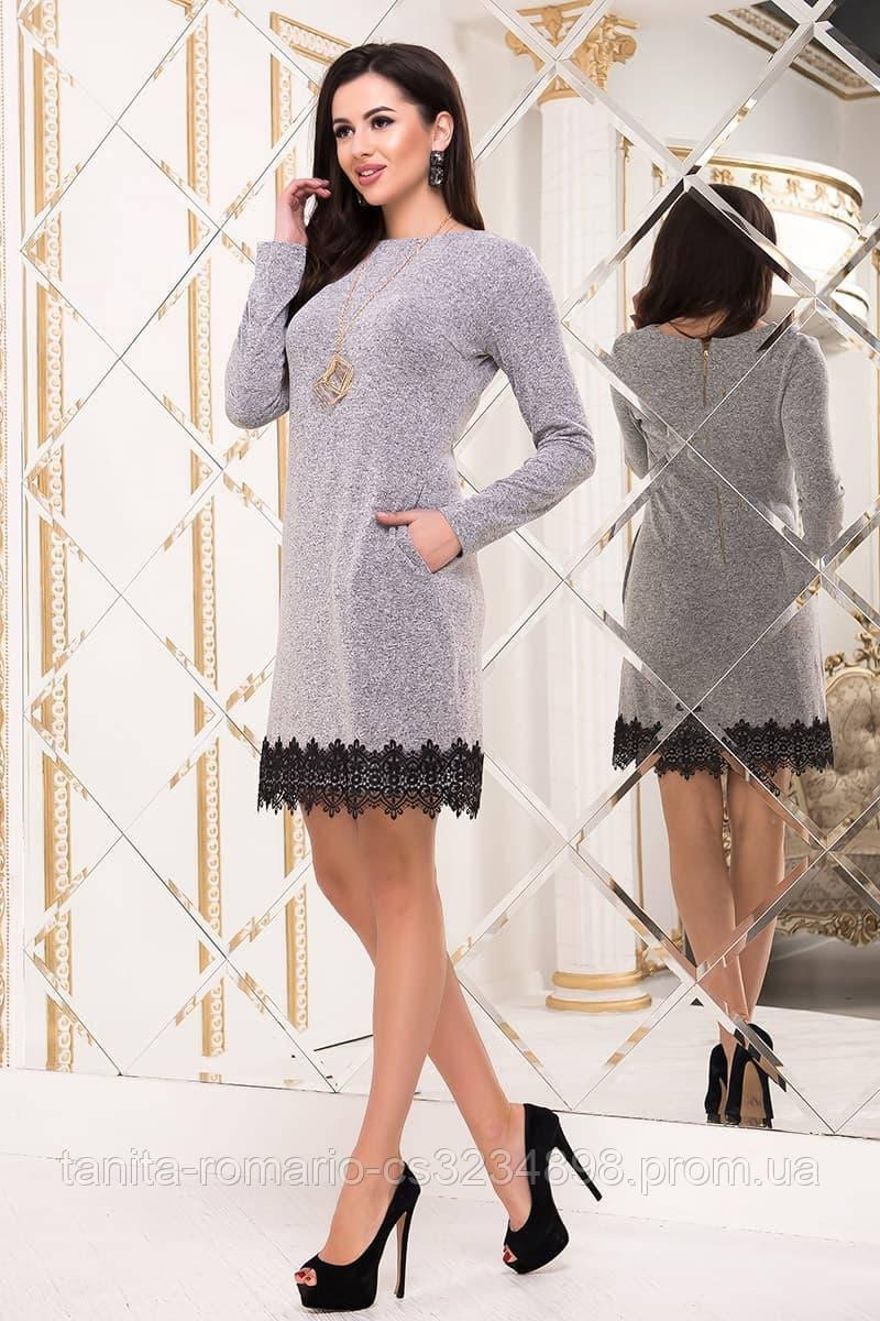 Повседневное платье 6301e Серый S M L
