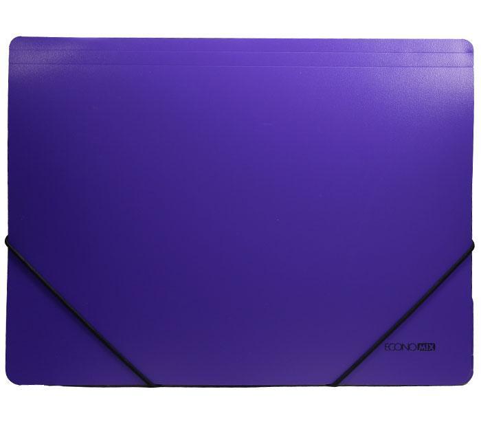 """Папка пластиковая А4 на резинке Economix, фактура """"помаранч"""", фиолетовая E31633-12"""