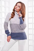 Вязаный зимний теплый женский свитер с горлом св.-серый- т.-серый- св.джинс