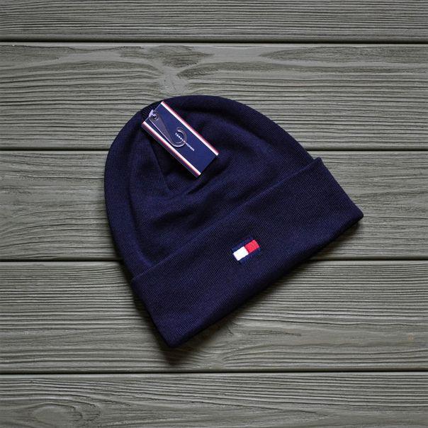 Шапка Tommy Hilfiger D8635 темно-синяя