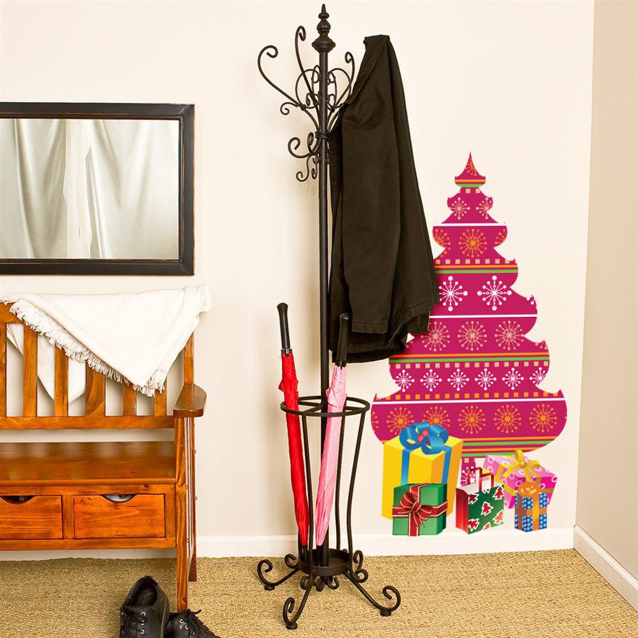 """Новорічний декор: інтер'єрна наклейка """"Ялинка з подарунками"""""""