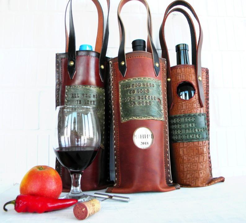 Чехол кожаный подарочный для винной бутылки