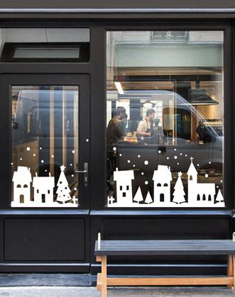 """Новорічна наклейка на вікно """"Зимове місто"""""""