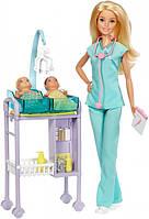 Набор кукла Барби Блондинка доктор с двумя малышами Barbie DVF50 Mattel