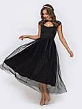 Женственное вечернее платье с ажурным кружевом и юбкой из фатина длиной миди черный, фото 2