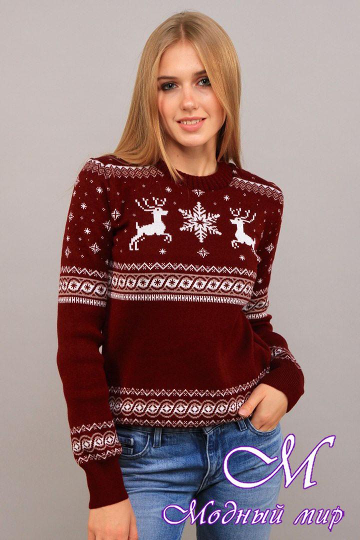 Женский теплый свитер с оленями (ун. 44-48) арт. К-13-185