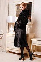 Длинная женская шуба  из качественного эко меха чёрная норка с 44 по 58 размер, фото 3
