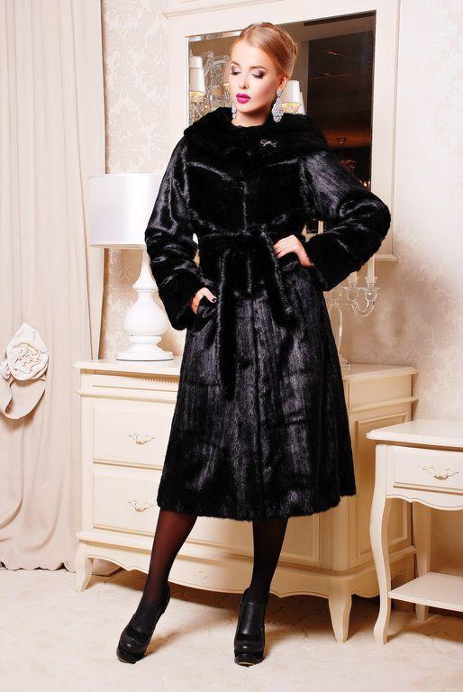Длинная женская шуба  из качественного эко меха чёрная норка с 44 по 58 размер