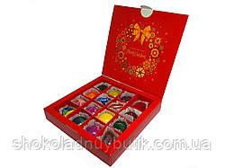 Шоколадные конфеты ручной роботы *Красная рождественская коробка на 16шт.*