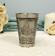 Коллекционный оловянный бокал для шнапса, олово, Германия, 150 мл, фото 1