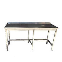 Стол производственный из нержавеющей стали с плоским бортом и усиленным каркасом