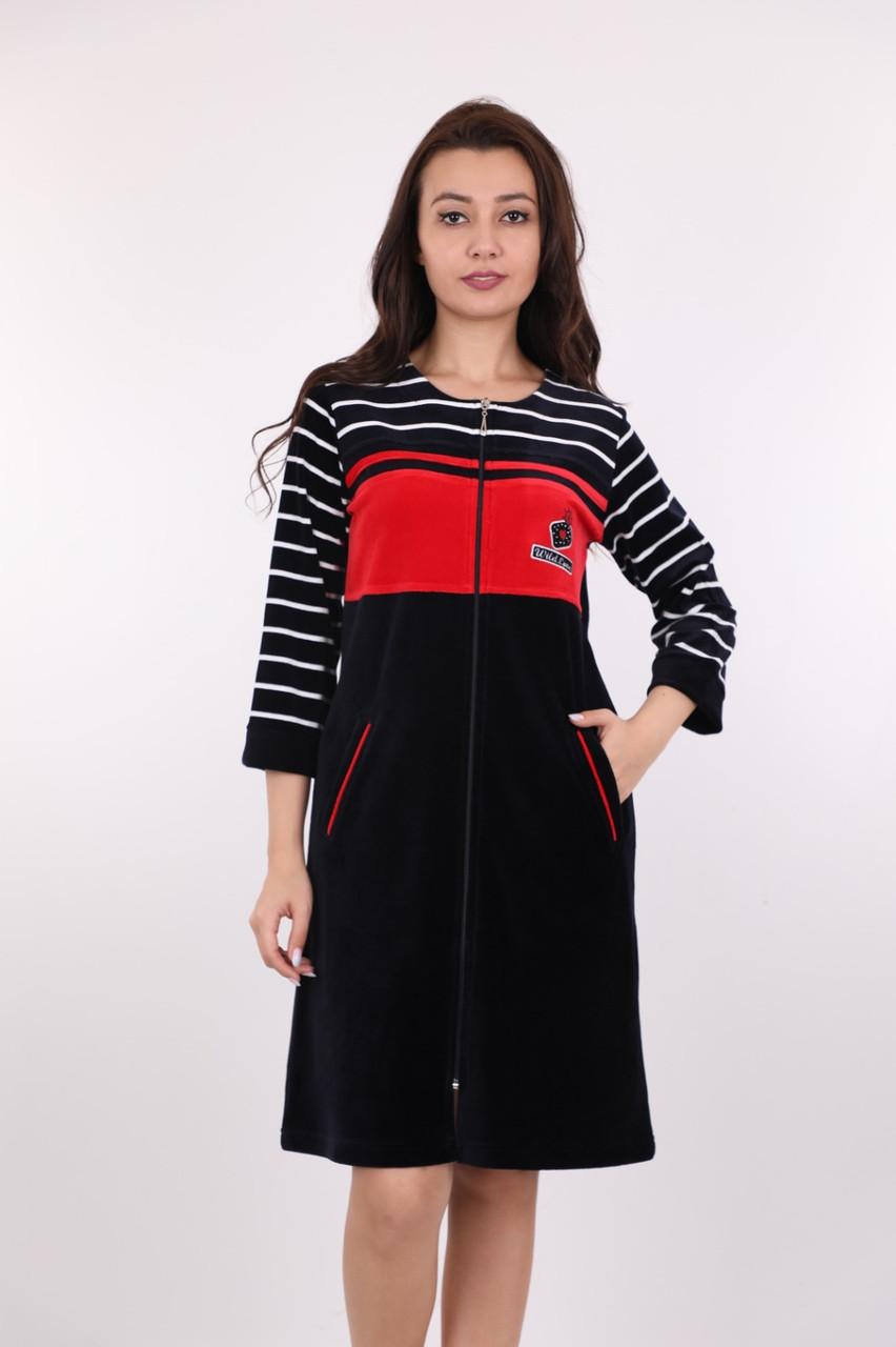 Красивый велюровый халат женский полоска