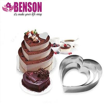 Набор форм для выпечки из нержавеющей стали в виде сердца Benson BN-1038, фото 2