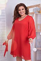 Нарядное вечернее платье средней длины из шифона и трикотажной подкладки, длинный рукав, пояс (50-64) Красный