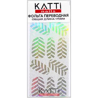 KATTi фольга переводная 36031 прозрачная с мульти серебристым рисунком Листья 20см, фото 2